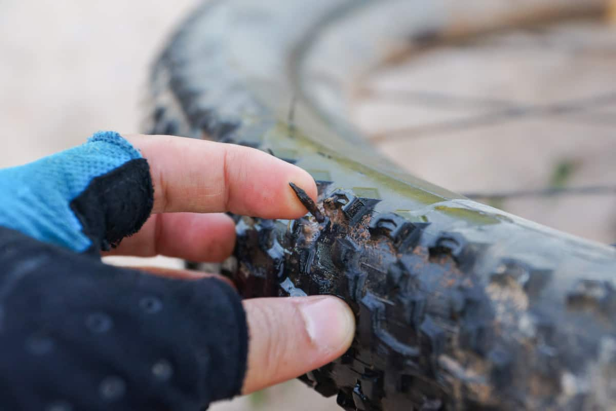 Punctured Mountain Bike Wheel
